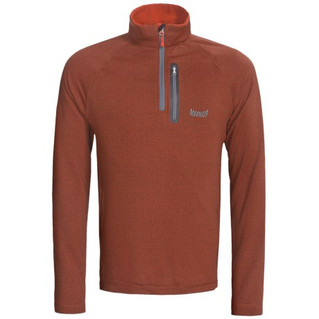 Marker Grid Fleece Pullover - Zip Neck (For Men) in Grey