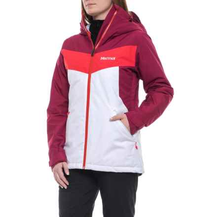 Marmot Ambrosia Ski Jacket - Waterproof, Insulated (For Women) in White/Red Dahlia - Closeouts