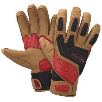 Marmot Armageddon Undercuff Gloves - Waterproof, Insulated (For Men) in Tan/Team Red