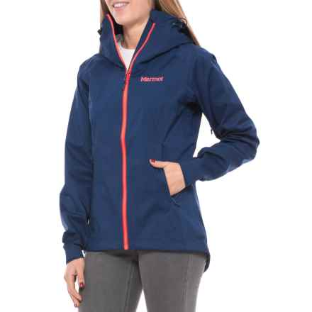 Marmot Asilomar Jacket - Waterproof (For Women) in Artic Navy/Neon Coral - Closeouts