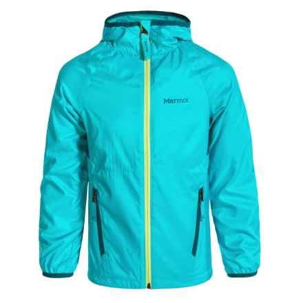 Marmot Ether Hoodie Jacket - DWR (For Girls) in Light Aqua/Oceanside - Closeouts
