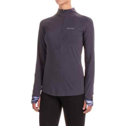 Marmot Excel Shirt - UPF 50+, Zip Neck, Long Sleeve (For Women) in Dark Charcoal/Black Sprint - Closeouts