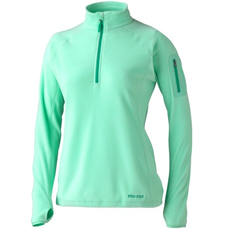 Marmot Flashpoint Pullover Fleece Jacket - Zip Neck (For Women) in Ice Green