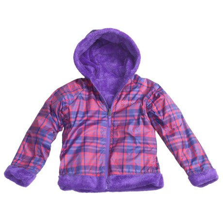 Marmot Gemini Jacket - Fleece, Reversible (For Girls) in Light Orchid/Electric Purple Plaid