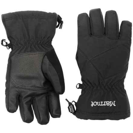 Marmot Glade Ski Gloves with Fleece Lining - Waterproof, Insulated (For Little and Big Boys) in Black - Closeouts