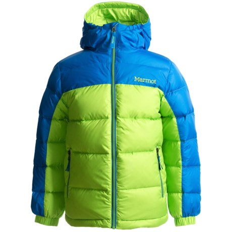 Marmot Guides Down Hoodie Jacket - 650 Fill Power (For Boys) in Green Envy/Cobalt Blue