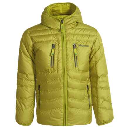 Marmot Hangtime Hooded Down Jacket - 700 Fill Power (For Boys) in Citronelle - Closeouts