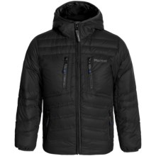 Marmot Hangtime Hooded Down Jacket - 700 Fill Power (For Little and Big Boys) in Black - Closeouts