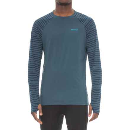 Marmot Harrier Shirt - Crew Neck, Long Sleeve (For Men) in Denim/Denim Strike - Closeouts