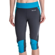 Marmot Impulse 3/4 Tights - UPF 30 (For Women) in Dark Steel/ Atomic Blue - Closeouts