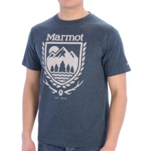 Marmot Lodge T-Shirt - Short Sleeve (For Men) in Navy Heather - Closeouts