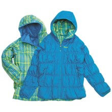 Marmot Luna Jacket - Insulated, Reversible (For Girls) in Blue Jewel/Buttercup Plaid - Closeouts