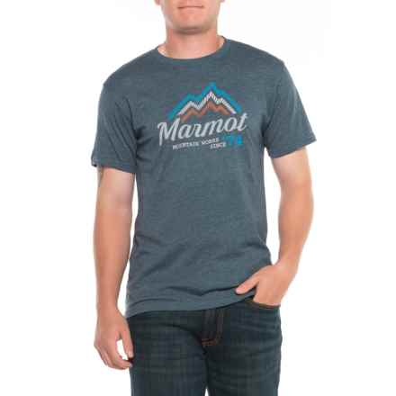 Marmot Navy Heather Beams T-Shirt - Short Sleeve (For Men) in Navy Heather - Closeouts
