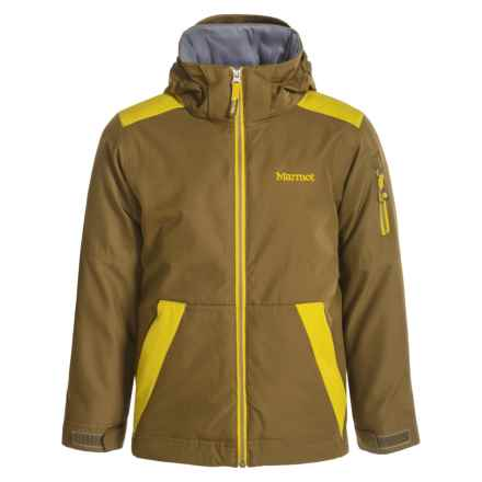 Marmot Outer Limits Jacket - Waterproof, Insulated (For Little and Big Boys) in Brown Moss/Green Mustard - Closeouts