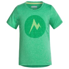 Marmot Post Time T-Shirt - UPF 30, Short Sleeve (For Little and Big Girls) in Crystal Green Heather - Closeouts