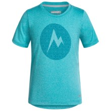 Marmot Post Time T-Shirt - UPF 30, Short Sleeve (For Little and Big Girls) in Light Aqua Heather - Closeouts