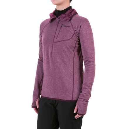 Marmot Powertherm Polartec® Power Wool® Hooded Shirt - Zip Neck, Long Sleeve (For Women) in Dark Purple - Closeouts