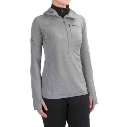 Marmot Powertherm Polartec® Power Wool® Hooded Shirt - Zip Neck, Long Sleeve (For Women) in Steel - Closeouts