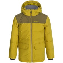 Marmot Rail Down Jacket - Waterproof, 700 Fill Power (For Little and Big Boys) in Green Mustard/Brown Moss - Closeouts