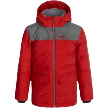 Marmot Rail Down Jacket - Waterproof, 700 Fill Power (For Little and Big Boys) in Team Red/Slate Grey - Closeouts