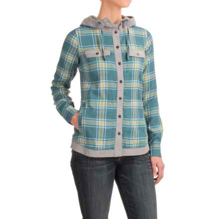 Marmot Reagan Flannel Hooded Shirt - UPF 50, Long Sleeve (For Women) in Moon River - Closeouts