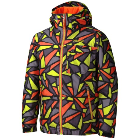 Marmot Sidehill Jacket - Hooded, Water Resistant (For Boys) in Orange Lime Print