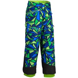 Marmot Sidehill Snow Pants - Water-Resistant, Insulated (For Boys) in Cobalt Green Print