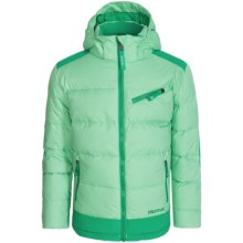 Marmot Sling Shot Down Ski Jacket- Waterproof, 700 Fill Power (For Little and Big Girls) in Green Frost/Gem Green - Closeouts