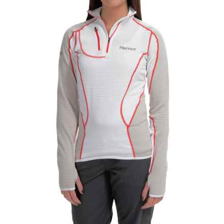 Marmot Thermo Polartec® Power Dry® Shirt - Zip Neck, Long Sleeve (For Women) in White/Platinum - Closeouts