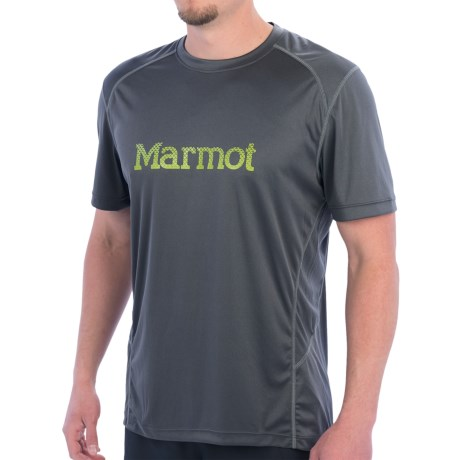 Marmot Windridge Graphic  T-Shirt - UPF 50, Short Sleeve (For Men) in 1440 Graphic Slate Grey/Green Lichen