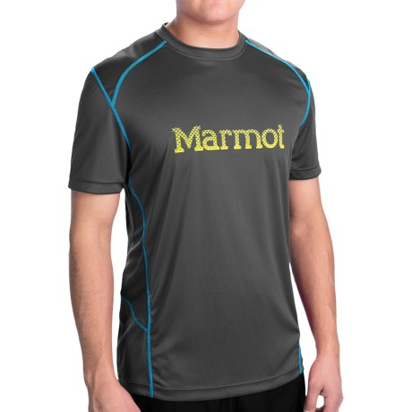 Marmot Windridge Graphic  T-Shirt - UPF 50, Short Sleeve (For Men) in Slate Grey/Yellow/Blue