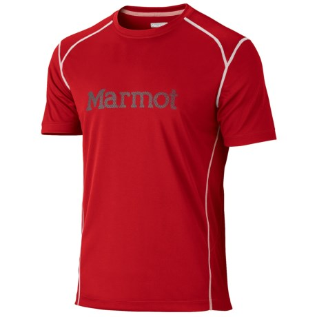 Marmot Windridge Graphic  T-Shirt - UPF 50, Short Sleeve (For Men) in Team Red/Slate Grey