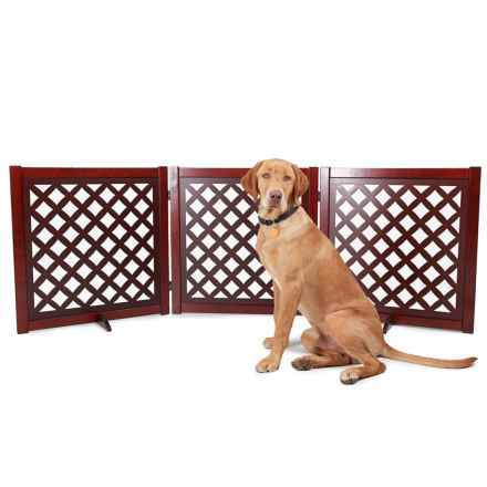 Martha Stewart 3-Panel Lattice Pet Gate in Brown - Closeouts