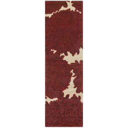 "Martha Stewart Floral Floor Runner - Hand-Tufted Wool, 2'3""x8' in Miso - Closeouts"