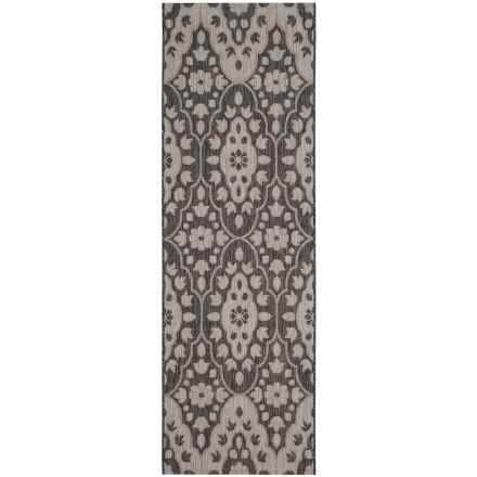 "Martha Stewart Indoor-Outdoor Floor Runner - 2'7""x5' in Black/Beige - Closeouts"