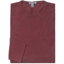 Martin Gordon Brushed Cotton T-Shirt - V-Neck, Long Sleeve (For Men) in Wine - Closeouts