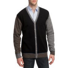 Martin Gordon Color-Block Cardigan Sweater - Wool, V-Neck (For Men) in Black - Closeouts