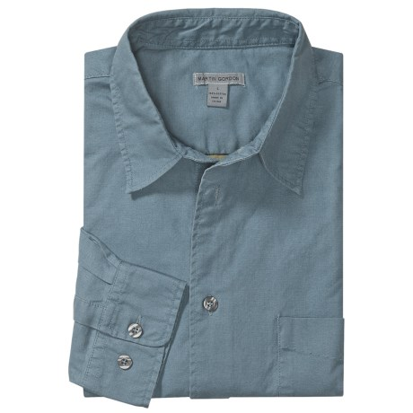 Martin Gordon Cotton Canvas Sport Shirt - Long Sleeve (For Men) in Denim