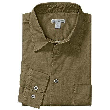 Martin Gordon Cotton Canvas Sport Shirt - Long Sleeve (For Men) in Olive