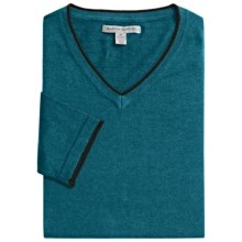Martin Gordon Cotton-Cashmere Sweater - V-Neck (For Men) in Sea Azure - Closeouts