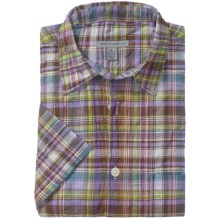 Martin Gordon Crinkle Cotton Plaid Shirt - Short Sleeve (For Men) in Purple - Closeouts