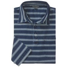 Martin Gordon Horizontal Stripe Polo Shirt - Long Sleeve (For Men) in Indigo Stripe - Closeouts