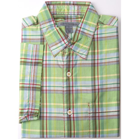 Martin Gordon Large Check Shirt - Short Sleeve (For Men) in Light Green/Brown