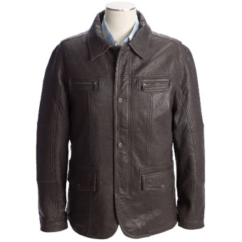 Martin Gordon Leather Jacket - Zip Front (For Men) in Brown