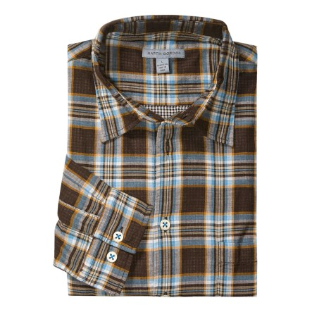Martin Gordon Light Plaid Sport Shirt - Long Sleeve (For Men) in Brown