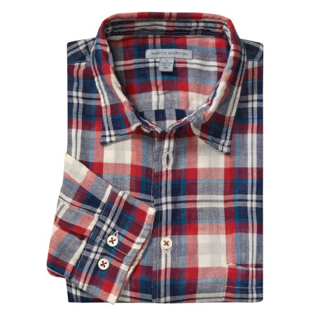 Martin Gordon Light Plaid Sport Shirt - Long Sleeve (For Men) in Navy