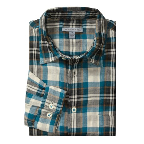 Martin Gordon Light Plaid Sport Shirt - Long Sleeve (For Men) in Teal