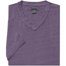 Martin Gordon Linen T-Shirt - V-Neck, Short Sleeve (For Men) in Aubergine - Closeouts