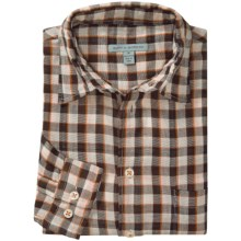 Martin Gordon Patterned Sport Shirt - Long Sleeve (For Men) in Brown/Natural/Orange/Red Check - Closeouts