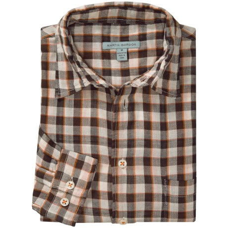 Martin Gordon Patterned Sport Shirt - Long Sleeve (For Men) in Brown/Natural/Orange/Red Check